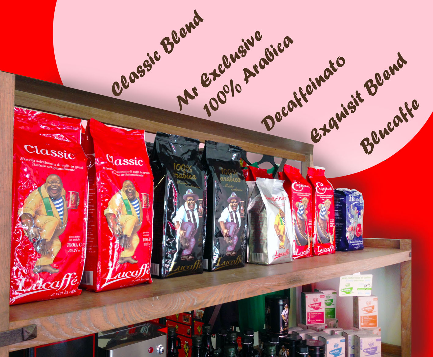 Lucaffe coffee beans in showroom with labels