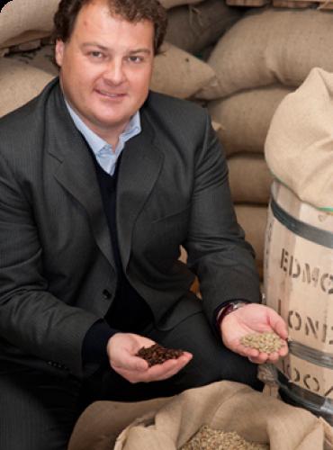 Gian Luca Venturelli with coffee beans